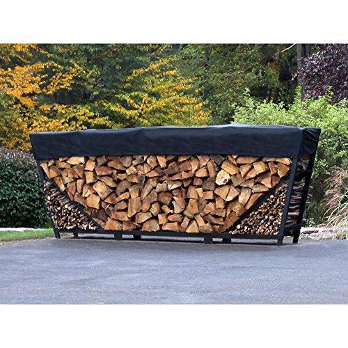 Shelter It 24408 Slanted Kindling Kit and 1' Cover Log Rack, 10', Black