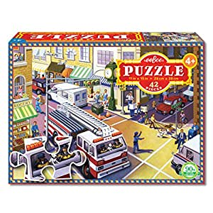eeBoo Fire Truck Puzzle for Kids, 42 pieces