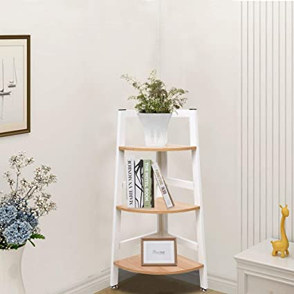 Amazon Com Karmas Product 3 Tier Free Standing Corner Shelf Wood