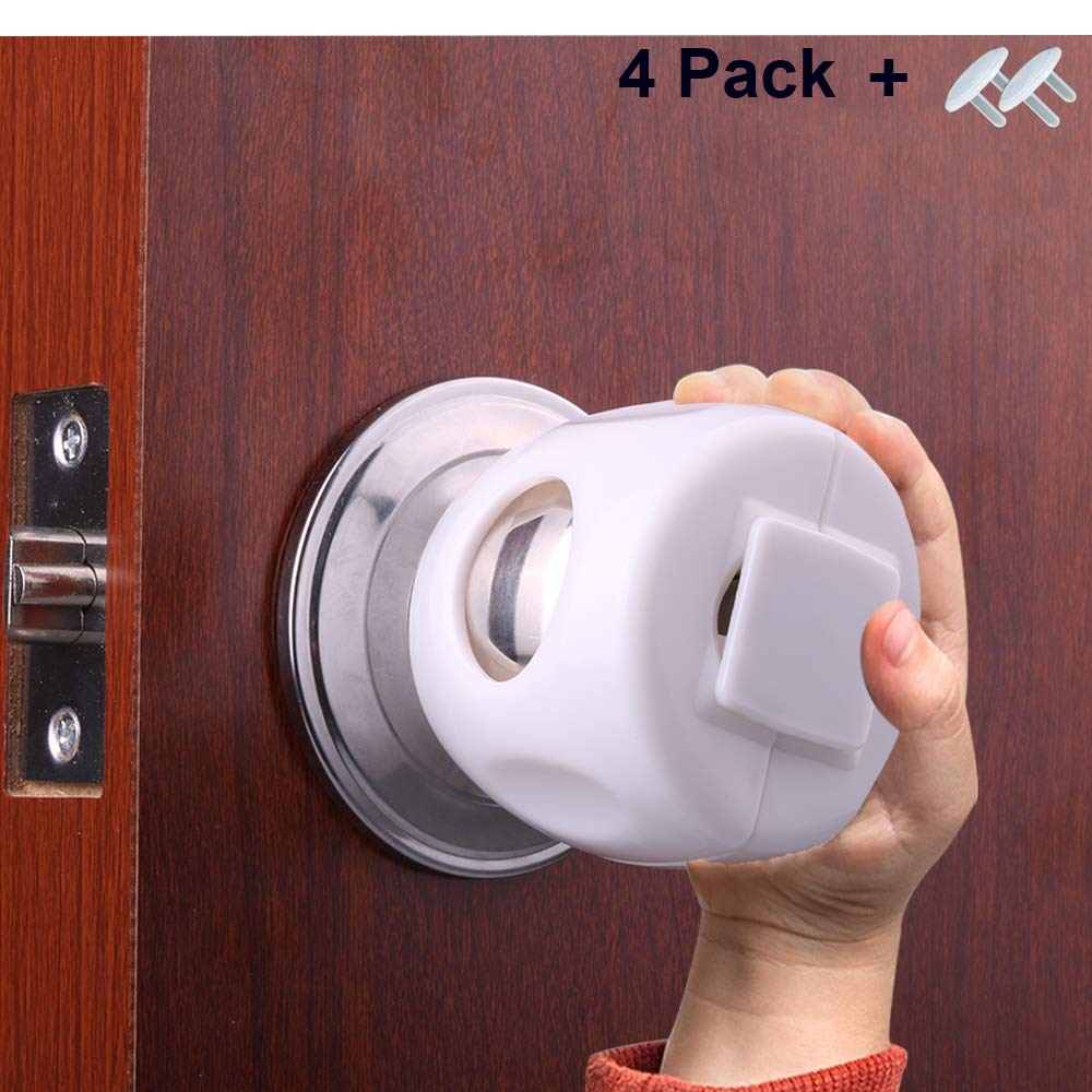 Door Knob Safety Cover for Baby Child Kids with Bigger Size of White Color(4 Pack) by AMZWEIZB