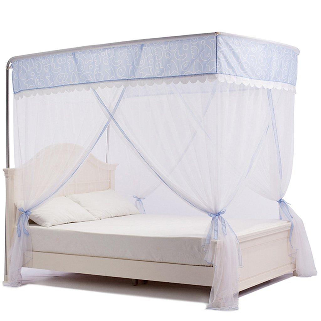 Moskitonetze Versenkbare U-Typ Edelstahlhalterung Polyester Raum erhöhen Effiziente Moskito-Kontrolle Wetter- & Sichtschutz (Farbe : Blau, Größe : 1.2 Meters (4 Feet) Bed)