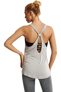 afdc1154918e6 Duppoly Women s Keyhole Tank Tops Hollow Out Tee Shirt Tied Knot Back  Camisole Sexy Backless Activewear