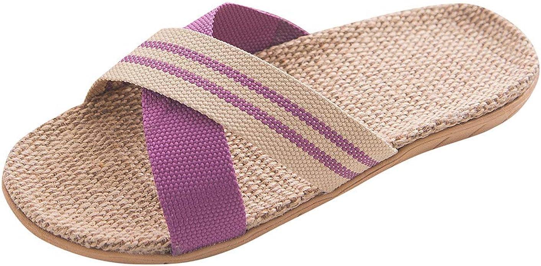 Women Men Summer Open Slipper Bamboo Linen Flat Home Indoor Sandals Antiskid New