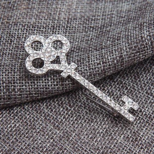 2016 Fashion Jewelry New Korean Gold Silver Plated Crystal Key Brooch Broches Metal Pin Wedding Rhinestone Brooches