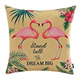 TRENDIN 18'' X 18'' Pink Flamingo Tropical Summer Flovers Birds in Pairs Linen Pillow Case Cushion Cover Decorative(PL067TR)