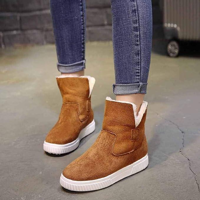 FuweiEncore Botas Mujer Zapatos Botines Moda Mujer Sólido Faux Suede Cálido Botas para la Nieve Creepers Plataforma Zapatos Casuales Botines (Color ...