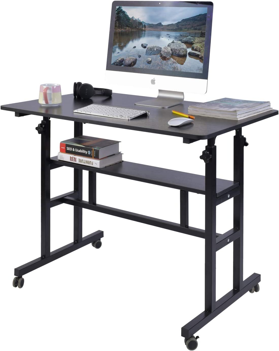 """AIZ Mobile Standing Desk, Adjustable Computer Desk Rolling Laptop Cart on Wheels Home Office Computer Workstation, Portable Laptop Stand Tall Table for Standing or Sitting, Black, 39.4"""" x 23.6"""""""