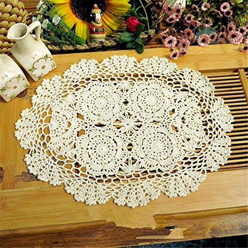 """Hoomy Vintage Hand Crocheted Doilies Beige Floral Lace Placemats Oval Hannmade Doilies Crochet Set of 4,13.5""""X19.5"""""""