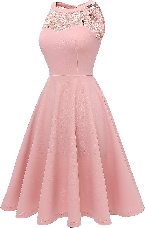 Bbonlinedress Vestidos Mujer de C/óctel Vintage Elegantes a/ños 50 para Bodas Fiesta Bailar Cuello Halter