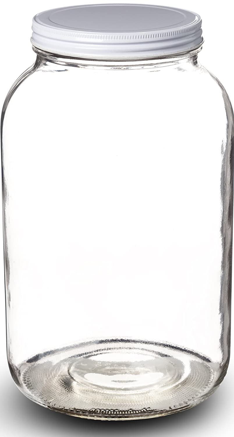 paksh novelty wide mouth 1 gallon clear glass jar metal lid with airtight line ebay. Black Bedroom Furniture Sets. Home Design Ideas