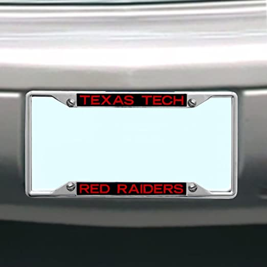 One Size WinCraft NCAA Texas Tech Red Raiders Crystal Mirror Logo License Plate Team Color