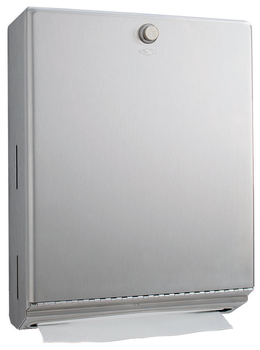 """Bobrick 2620 ClassicSeries 304 Stainless Steel Surface Mounted Paper Towel Dispenser, Satin Finish, 10-3/4"""" Width x 14"""" Height x 4"""" Depth"""