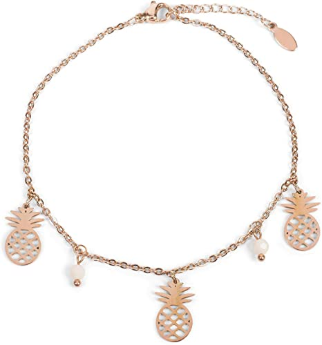 Tobillera de Mujer con Colgantes de piñas y Perlas, Cadena de eslabones, Cierre de mosquetón, Cadena, bisutería
