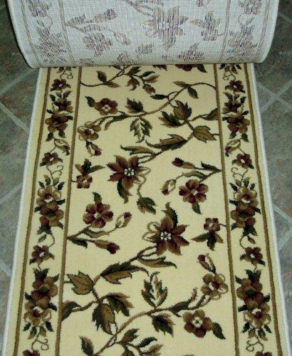 Roll Runner Custom Ivory (153449 - Rug Depot KAS Cambridge 7331 Ivory Floral Vine Hall and Stair Runner - 26
