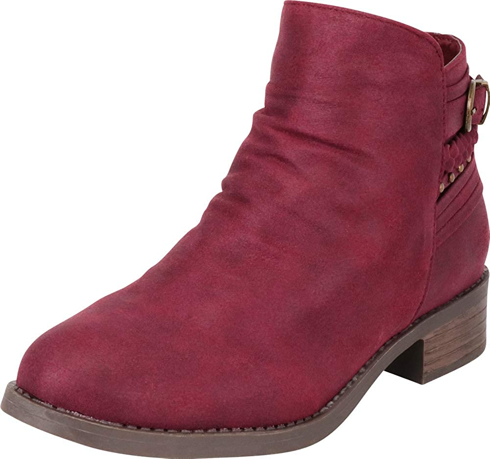 Wine Imsu Cambridge Select Women's Slouch Strappy Braid Studded Low Chunky Heel Ankle Bootie