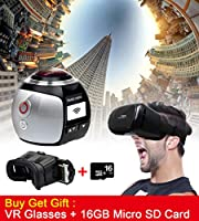 Campark Sports Camera 360 Panoramic VR Action Camera 3D Waterproof WIFI 16GB Micro SD Card and VR Glasses Included