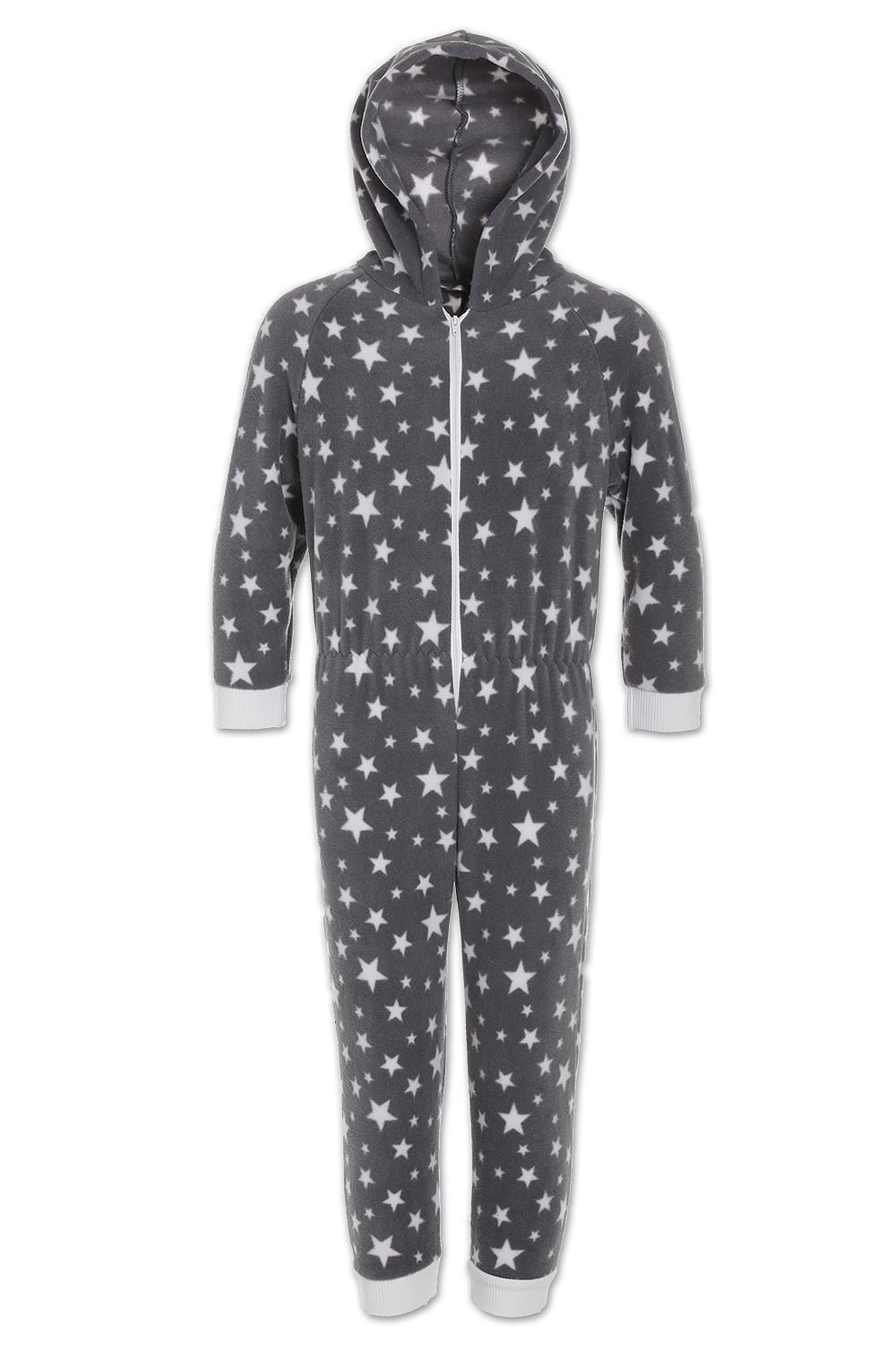 Camille Childrens Nightwear Supersoft White Star Print Grey Onesie Camille Lingerie