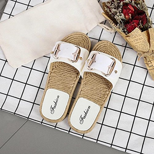 Huihui Sandali Donna Elegante Antiscivolo Sandali Di Paglia Piatto Scarpe Da Spiaggia Pantofola Roma Bocca Di Pesce Scarpe Vuote Sandali Comfort Pantofole Sandali Con Cinturino Bianco