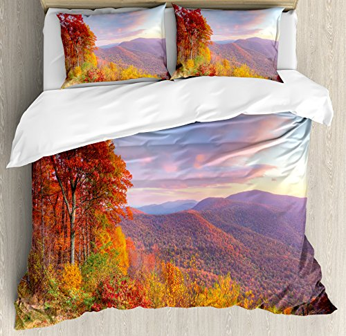 Mountain Duvet Cover Set King Size by Ambesonne, Sunrise Stunning Sky Colors Autumn Falls at South Western Village Scenery, Decorative 3 Piece Bedding Set with 2 Pillow Shams, Orange Blue - At Village Stores The Orange
