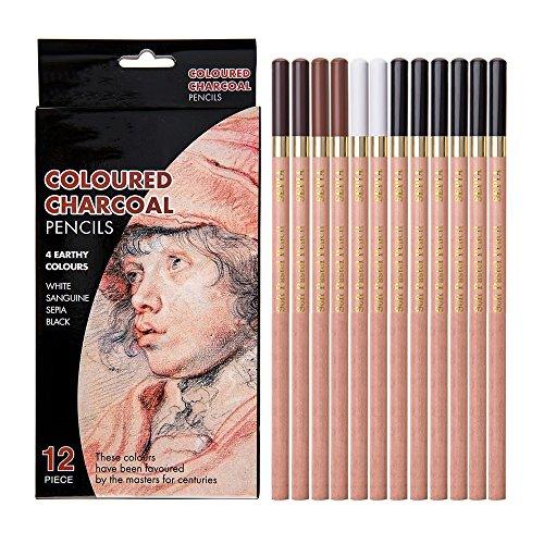 Looneng Sketch Charcoal Pencil, Soft Pastel Chalk Pencils, 4 Assorted Colors, 12 Per Pack