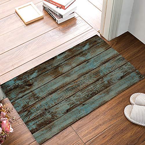 SIMIGREE Rustic Old Barn Wood Welcome Door Mats Indoor Kitchen Floor Bathroom Entrance Rug Mat Carpets Home Decor Absorbent Bath Doormats Rubber Non Slip 20 x 32 Inch (Door Decor Old)