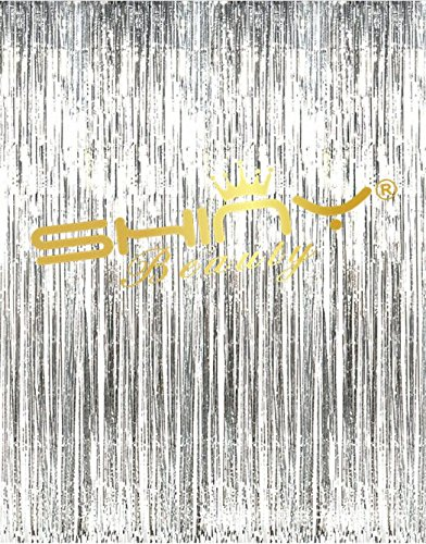 ShinyBeauty 12FTx8FT Foil Fringe Backdrop Curtain Silver, Metallic Tinsel Birthday Party Photo Booth Backdrop, Wedding Event Door Window Decoration (Pack of 4)