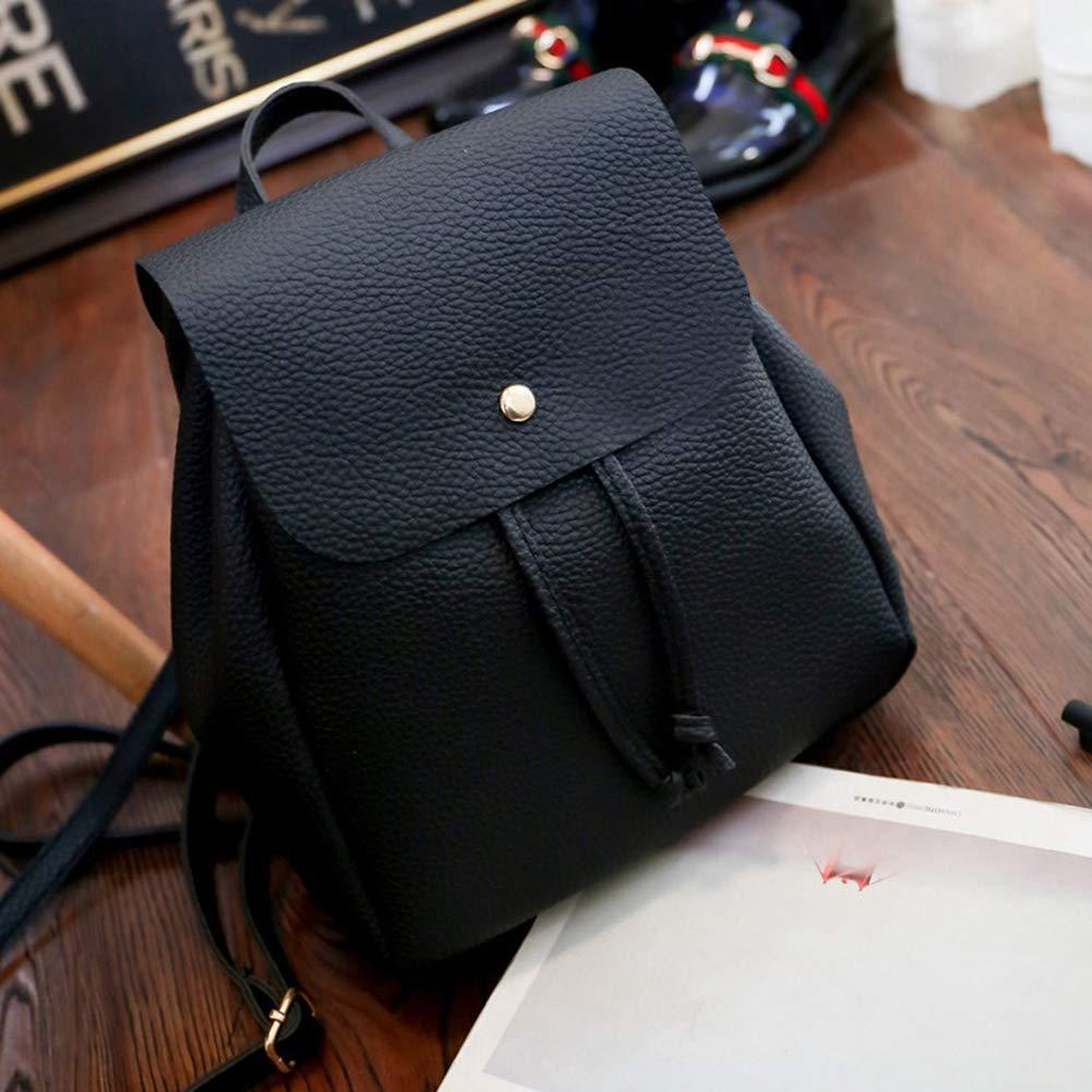 Noir Mini Femmes de Mode Solide Sac /à bandouli/ère en Cuir PU Cartable Sac /à Dos GLOGLOW Sac /à Dos de Femmes
