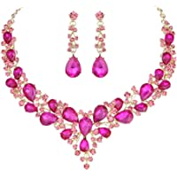 62204000b Youfir Bridal Austrian Crystal Necklace and Earrings Jewelry Set Gifts fit  with Wedding Dress