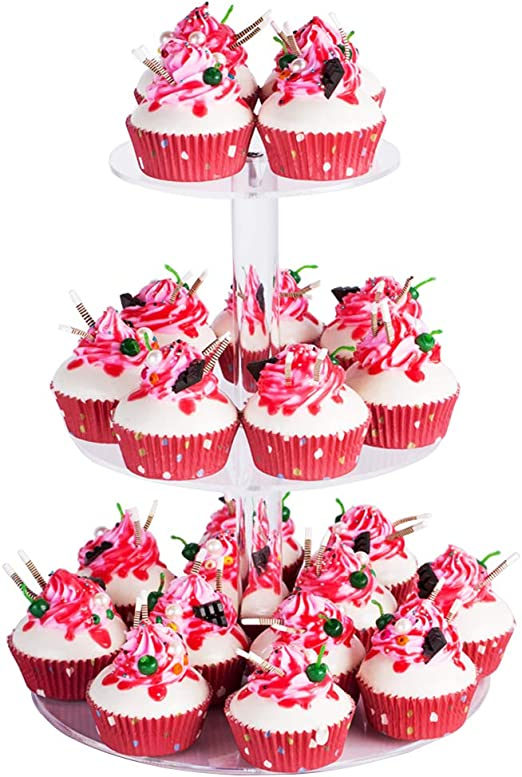 Cupcake Stand Round 5 Tier Mirror Acrylic Wedding Party Cake Display Tower