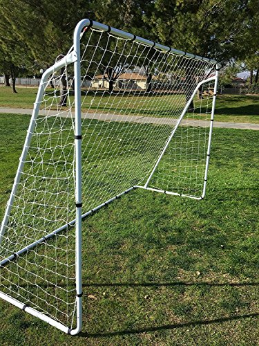 Pass Large 10X6 Steel Soccer Goal w/Bungee Straps & Anchors. 10X6 Goal. Perfect for 5 vs 5 and Training. 10 x 6