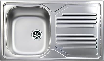 Lavello Cucina Incasso 1 Vasca Gocciolatoio Sx 86 cm Acciaio ...