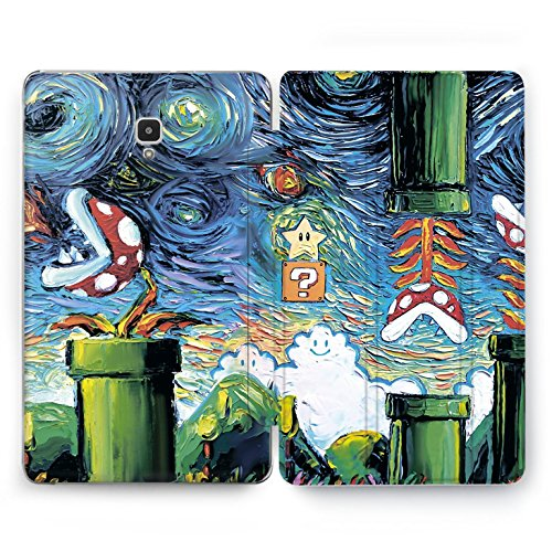 Wonder Wild Samsung Galaxy Tablet s2 s3 9.7 inch A 8.0 10.1 Clear Hard Case 2018 2017 Cute Super Mario Game in Van Gogh Painting Plant Print Vintage Nature Stand Smart Cover Watercolor Design ()
