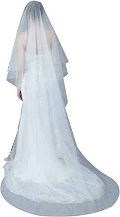 1T White Bridal Wedding Chapel Length Cut Edge Veil