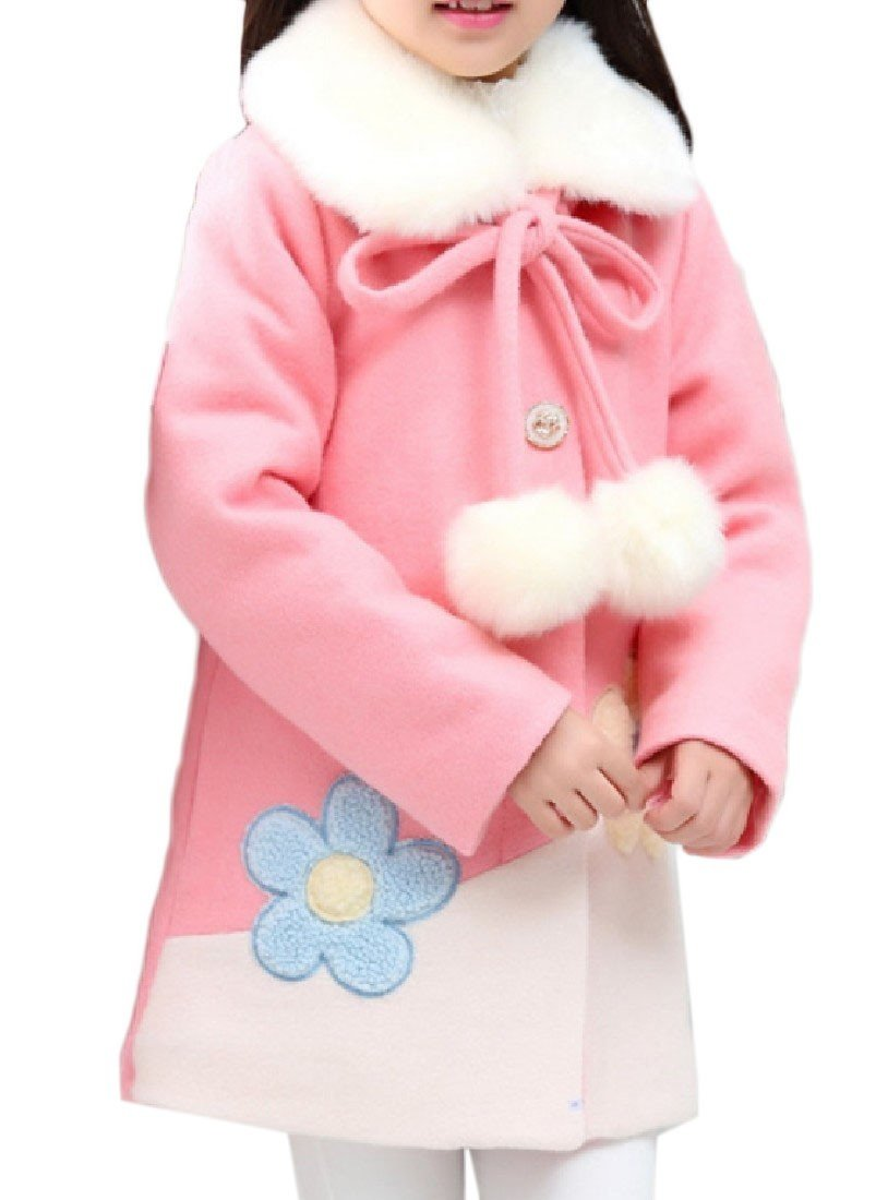 Doufine Girl's Coat Thick Snowsuit Long Sections Winter Peacoat Pink 150cm
