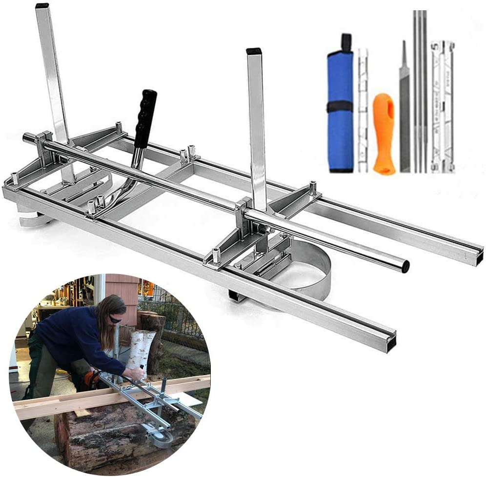 Chainsaw Mill, Portable Planking Milling 14 to 36 Inches Guide Bar Wood Lumber Cutting Sawmill with Chainsaw Sharpener File Kit & Work Gloves for Builders and Woodworkers (14