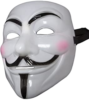 MGPS White Pink Cheek Guy Fawkes Anonymous V for Vendetta Costume Mask