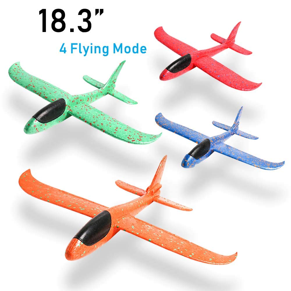 JCREN 4PCS Airplane Toy,Large Throwing Foam Plane,Outdoor Sport Game Toys for Challenging Circling Functions Flying Aircraft Fun Best Outdoor Fun Gift for Kids Children Party Favors(18.3 inch) by JCREN