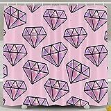 BINGO FLAG Funny Fabric Shower Curtain Pink Diamond Waterproof Bathroom Decor With Hooks 60 X 72 Inch