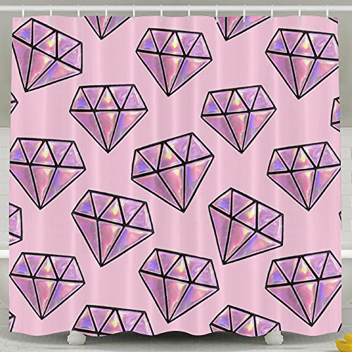 BINGO FLAG Funny Fabric Shower Curtain Pink Diamond Waterproof Bathroom Decor With Hooks 60 X 72 Inch by BINGO FLAG