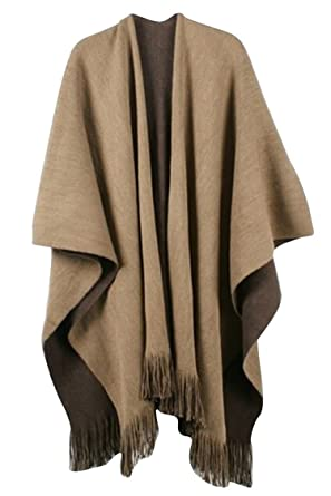 Timemory Womens Winter Solid Knitted Cashmere Poncho Capes Shawl ...