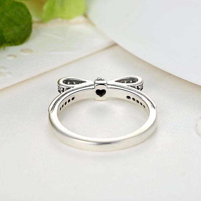 Presentski 925 Sterling Silver Bowknot anillo con Austria Zirconia cúbicos para el amante