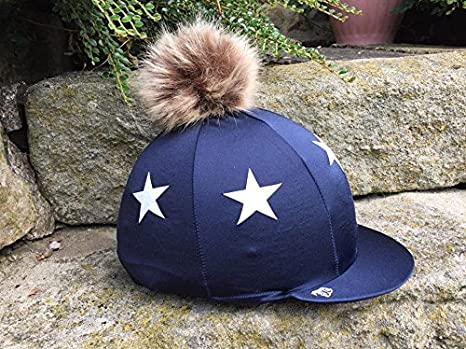 f5dc53077ef46 SUPER X COUNTRY SXC Stars Lycra Riding Hat Silk Cover with Lilac Faux Fur  Pompom (Bottle Green with White Stars)  Amazon.co.uk  Clothing