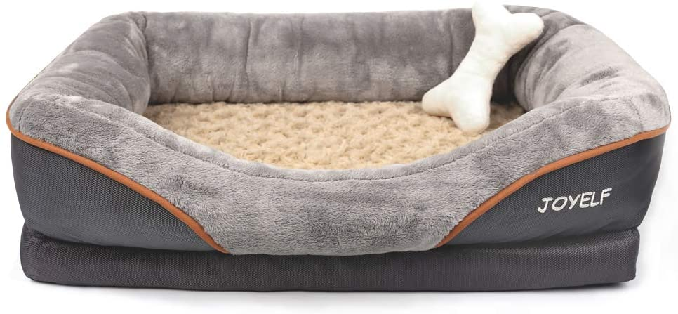 Joyelf Memory Foam Dog Bed Small Orthopedic Dog Bed Sofa With Removable Washable Cover And Squeaker Toy As Gift Kitchen Dining