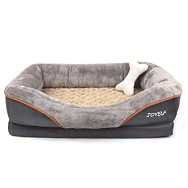 JOYELF Orthopedic Dog Bed Memory Foam Pet Bed with Removable Washable Cover and Squeaker Toy as Gift