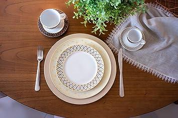 Aparelho De Jantar Germer Vanilla Porcelana Detalhes 42 Peças Branco