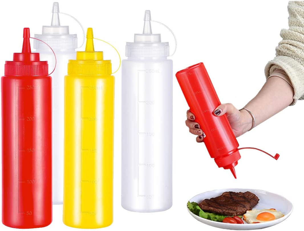 INHEMI Botellas de Plastico Grandes 250 ml con Tapas de Rosca – Dispensadores Rellenables(Pack de 4)