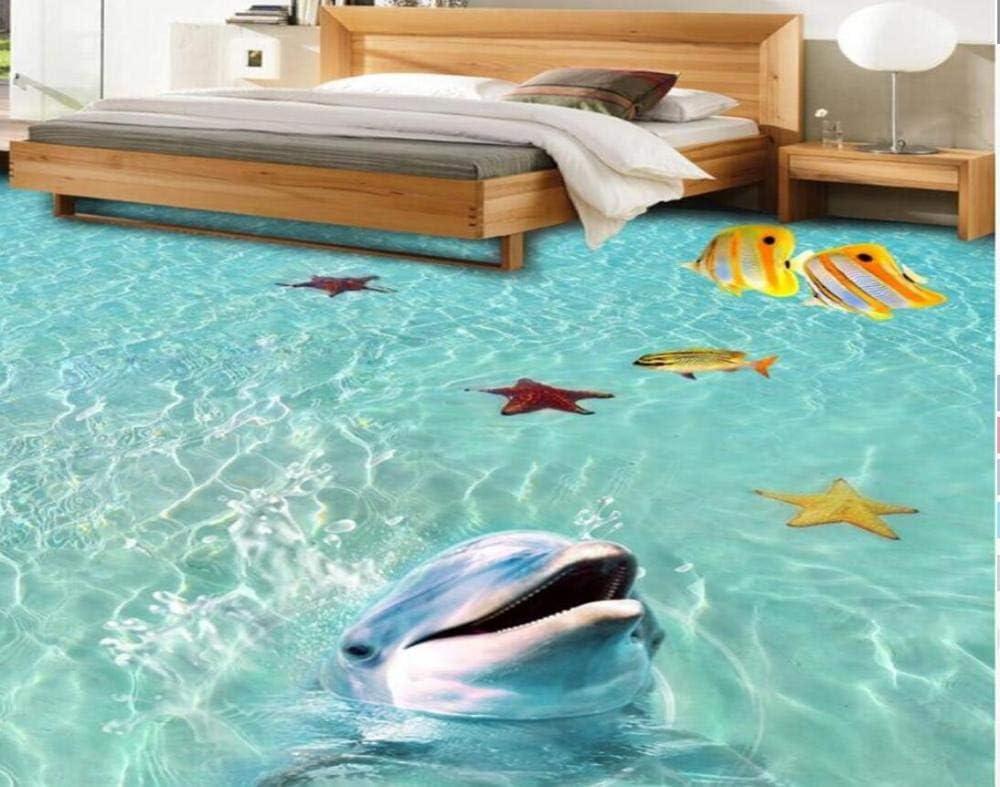 140cm Papier peint de sol personnalis/é plage eau de mer poissons tropicaux /étoile de mer dauphin salle de bains chambre 3d plancher papier peint imperm/éable /à leau @ 200