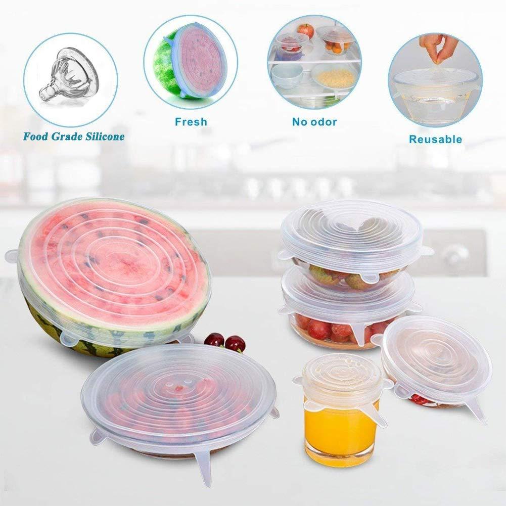 sart/én amarillo olla plato alimento principal de 6-Pack Reutilizable de silicona estiramiento Tapas para cuenco