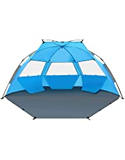 TAGVO Pop Up Beach Tent Sun Shelter Easy Set Up Tear Down, Portable Instant Beach Baby Canopy Lightweight 4.7 Pounds, UPF 50 Plus Sun Protection 3 Mesh Screen Windows Sports Sun Shade