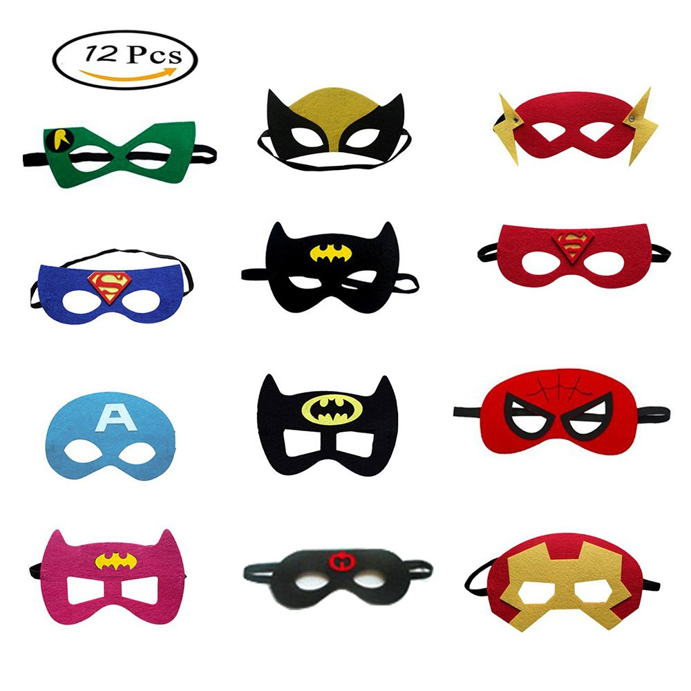 Morkia Masques de Super-Héros, 12pcs Masques pour Enfants Dress Up Masque de Super-héros Cosplay Pour Enfants Cadeaux D'anniversaire et Fête d'Anniversaire pour Filles, Garçons et enfants product image